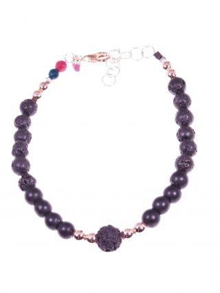 Bracciale lava e onice, nero e rosa Linea Shadow collezione: nero e rosa Bracciale con sfere di lava e onice, ematite rosa, chiusura argento rosa.