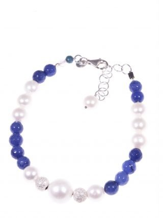 Bracciale perle giada zaffiro argento Collezione R&B Bracciale perle coltivate, giada blu zaffiro, sfere argento diamantato.Filo interno in acciaio morbido