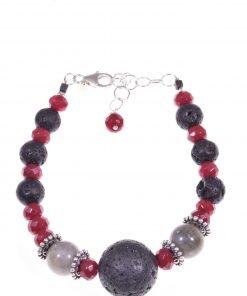 Bracciale donna lava rubellite labradorite, argento Bracciale labradorite, giada rubellite, lava nera argento anticato.Filo interno in acciaio morbido