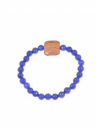 Bracciale pietre dure e legno, giada blu, elastico