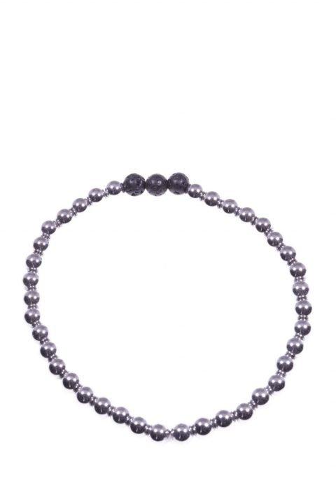 bracciale elasticizzato ematite color argento con 3 sfere lava nera