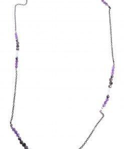 Collana lunga viola grigio, argento nero, pietre dure collezione: Longer-shadow Collana 93 cm. pietre dure viola e grigie, catena argento rutilato nero.
