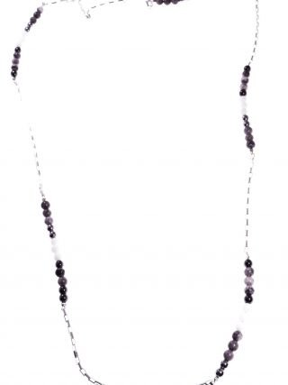 Collana lunga grigio nera, argento e pietre dure Linea Shadow collezione: Longer-shadow Collana 93 cm. grigio nera, catena argento e pietre dure.