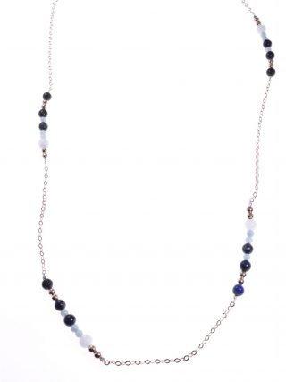 Collana lunga blu azzurra, argento rosa, pietre dure Collana 93 cm. pietre dure blu e azzurre alternate ad una catena in argento rosa.