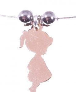 ciondolo bimba argento rosa su cavetto acciaio