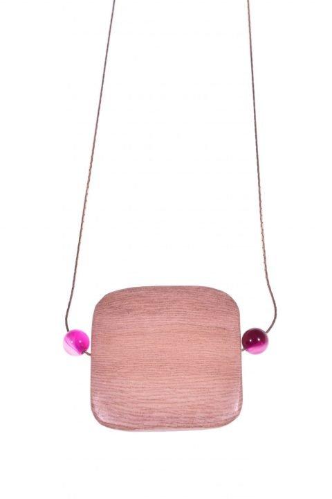 Girocollo argento rosa, legno agata fucsia, square Girocollo con catenina in argento rosa con grande centrale in legno di rose e agata fucsia.