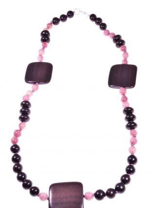 Girocollo legno di ebano e rodonite rosa, squarecollezione: Square-wood Girocollo con legno tiger-ebony delle Filippine, rodonite, chiusura argento.