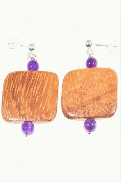 Orecchini argento, legno e ametista, square collezione: Square-wood orecchini con pallina e perno in argento, sfere ametista e quadrato in legno Bayong.