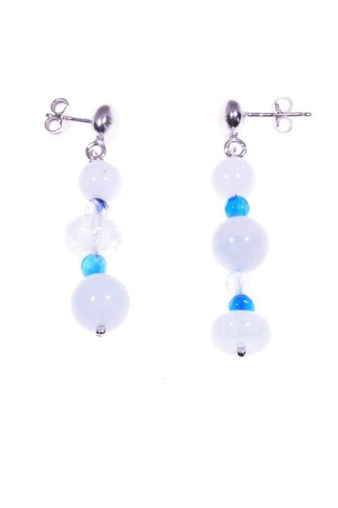 Orecchini acquamarina e agata azzurra, argento collezione: Acqua-mare Orecchini pendenti disuguali con acquamarina, giada agata azzurra, argento.
