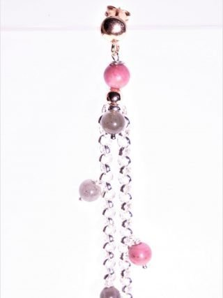 Mono orecchino albero della vita, cuore, pietre dure Lungo orecchino singolo, due catenine ad anelli in argento, pietre dure, cuore rosa, albero della vita.