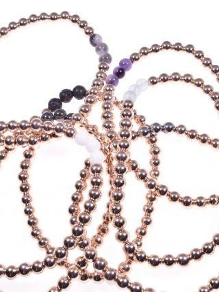 Bracciale ematite rosa, pietre dure, elastico collezione: mini-Milla Bracciale elasticizzato di ematite rosa con 3 sfere pietre dure, vari colori