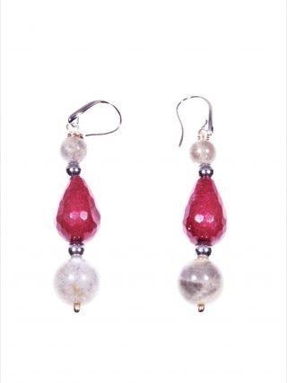 Orecchini pendenti goccia rossa e labradorite, argento  Orecchini pendenti 4,50 cm.pietre dure bordeaux e grigie, montatura in argento 925