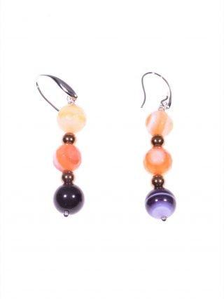 Orecchini pendenti viola e arancio, argento Orecchini pendenti 4,50 cm.pietre dure arancio e viola, montatura in argento 925