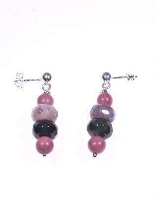 Orecchini pietre dure rosa e verde, argento Collezione: BluBasic Orecchini pendenti 3,0 cm.pietre dure rosa e verde scuro, montatura in argento 925