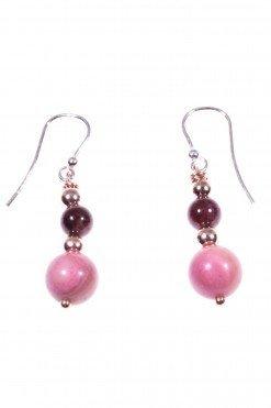 Orecchini pendenti rosa e granato, ematite rosa Collezione: BluBasic Orecchini pendenti 3,5 cm. , pompeiana argento, rodonite e granato, ematite rosa