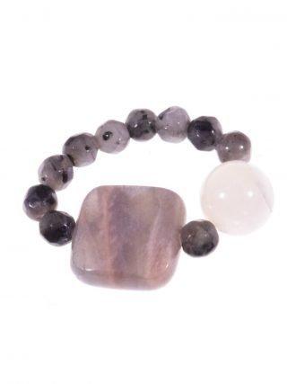 Anello pietra di Luna, labradorite con elastico Linea P.blu Anello con elastico interno in pietre dure, labradorite, pietra di Luna, agata bianca