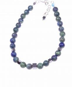 """Bracciale lapislazzuli, argento, potere: spirituale e protettivo """"Magia delle pietre"""" Bracciale sfere di lapislazzuli afgani (crisocolla) e cubi ematite."""