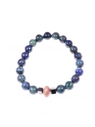 """Bracciale lapislazzuli, elastico, potere: spirituale protettivo """"Magia delle pietre"""" -Bracciale lapislazzuli (crisocolla) centrale legno-rose, elastico,"""