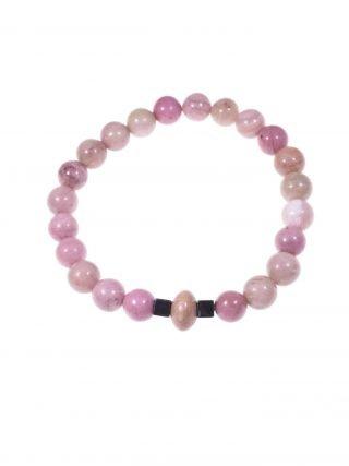"""Bracciale rodonite rosa, elastico, potere: spirituale """"Magia delle pietre""""-elastico- Bracciale rodonite, legno rose, ematite naturale, elastico interno."""