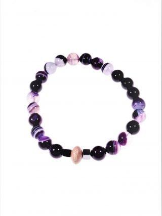 """Bracciale agata viola, elastico, potere: serenità """"Magia delle pietre"""" -elastico- Bracciale agata viola, legno rose, ematite naturale, elastico interno."""