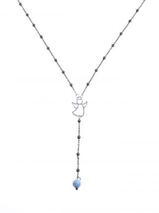 Collana rosario con angelo, argento nero e turcheseCatenina tipo rosario, in argento rodiato nero con angelo centrale e turchese terminale.