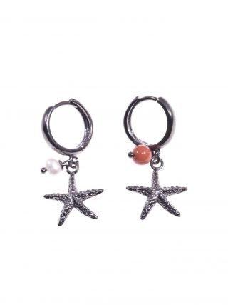 Orecchini stella marina argento nero, perlina e corallo, montatura a cerchio e stella marina pendente argeto nero corallo Mediterraneo, perlina coltivata.