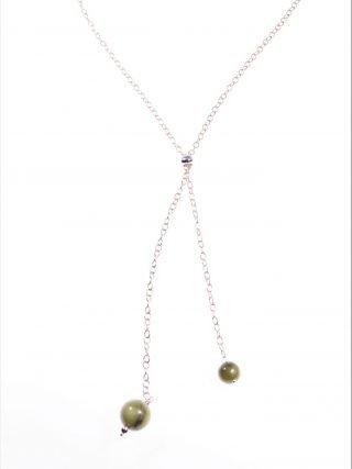 Catena argento rosa, 2 charm, giada canadeseLinea: Argento, Catena argento placcato oro rosa con messa di misura slide, stringi o allarga il girocollo,