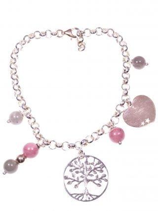 Bracciale albero della vita, charm Linea Argento. Bracciale maglia rolò con charm in argento: albero della vita e cuore rosa, pietre dure, fashion jewels