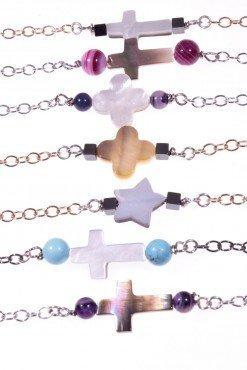 bracciali catena argento con centrale in madreperla