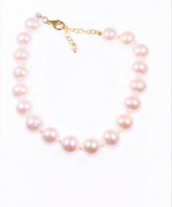 Bracciale perle 10 mm., argento dorato Bracciale perle coltivate semisferiche Ø 10mm., chiusura con catenina per la messa di misura in argento placcato oro.