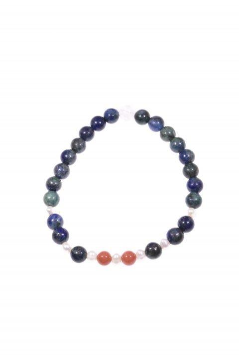 Bracciale blu pietre dell'amore. Linea Milla, Bracciale elasticizzato con le pietre dell'amore: lapislazzuli, perle, corallo, quarzo rosa