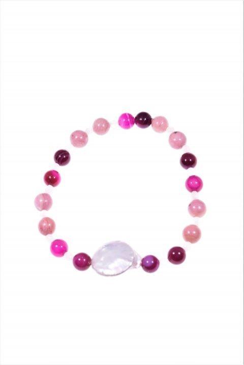 Bracciale perla, pietre dell'amore, Bracciale elasticizzato con le pietre dell'amore:perla, quarzo rosa, rodonite, agata fucsia.