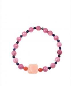Bracciale rosa pietre dell'amore Linea Milla Bracciale elasticizzato con le pietre dell'amore: pietra di Luna, lapislazzuli, corallo, rodonite