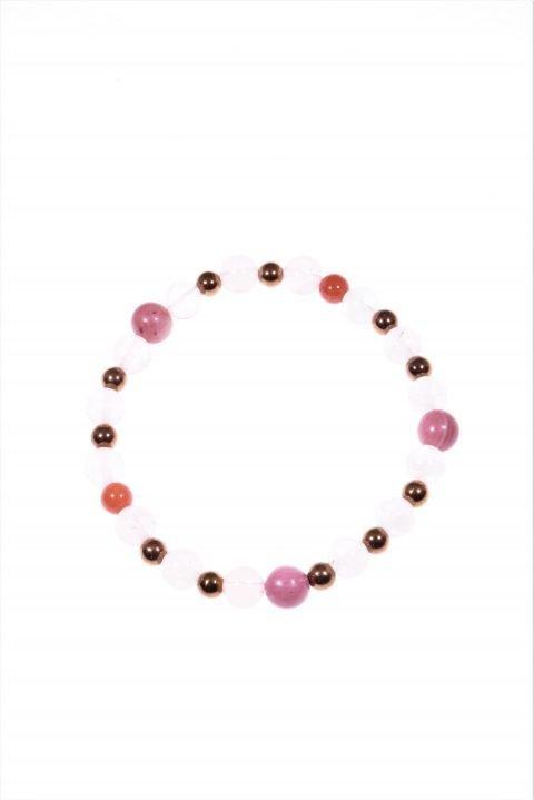 Bracciale pietre dell'amore quarzo rosaLinea MillaBracciale elasticizzato con le pietre dell'amore: quarzo rosa, rodonite, corallo, ematite bronzo.