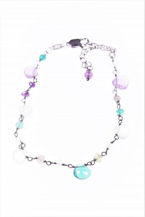 Bracciale rosario ametista, agata, argento, Bracciale catena argento 925 con alternanza di pietre dure: ametista, agata multicolore, quarzo.