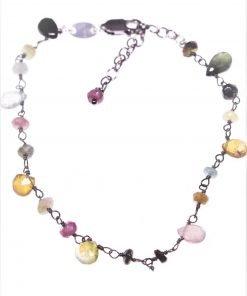 Bracciale rosario tormaline, argento Linea P.Blu Collezione rosario Bracciale catena argento 925 nero con alternanza di tormaline multicolore.
