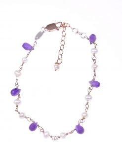 Bracciale rosario ametista, perle, argento Collezione rosario pietre dure - Bracciale catena argento 925 rosa con alternanza di ametiste e perline.