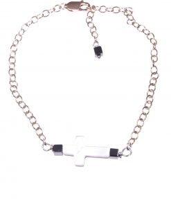 Bracciale croce madreperla, argento rosa Linea MillaCollezioni: croce - chain Bracciale catena argento 925 rosa, croce madreperla e cubi ematite