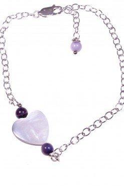 Bracciale cuore madreperla, argento Linea Milla Collezioni: cuore - chain Bracciale catena argento 925, cuore madreperla e agata viola.