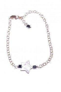 Bracciale stella madreperla, argento rosa Collezioni:- chain Bracciale catena argento 925 rosa, stella madreperla e cubi ematite