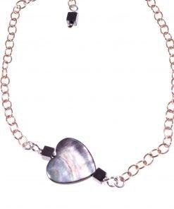 Bracciale cuore madreperla, argento rosa Linea Milla Collezioni: cuore - chain Bracciale catena argento rosa, cuore madreperla e ematite.
