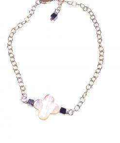 Bracciale fiore madreperla, argento rosa Linea MillaCollezioni:- chain Bracciale catena argento 925 rosa, Fiore madreperla e cubi ematite