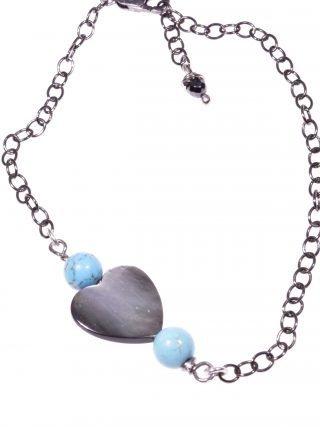 Bracciale cuore madreperla, turchese argento Linea Milla Collezioni: cuore - chain Bracciale catena argento nero, cuore madreperla e turchese.
