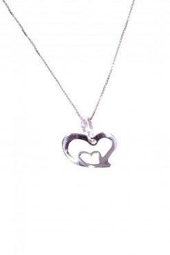 Catenina cuore+cuore, argento Catenina veneziana 40 cm. con ciondolo, cuore curvo con altro cuore all'interno in argento 925 rodiato