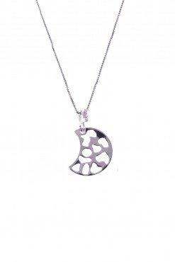 Catenina luna traforata con cuori, argento Catenina veneziana 40 cm. con ciondolo, cuore traforato con cuori in argento 925 rodiato, san valentino