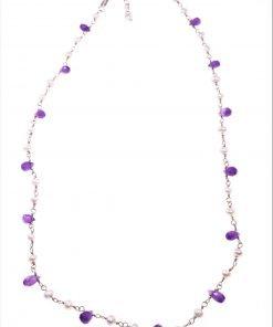 Girocollo rosario ametista, perle, argento Linea P.Blu Collezione rosario Girocollo catena argento 925 rosa con alternanza di ametiste e perline.