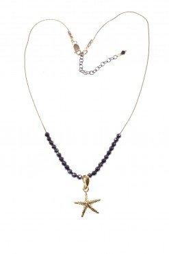 Girocollo stella marina dorata, ematite Catenina cardamo con stella marina pendente in argento 925 dorato, piccole sfere di ematite naturale sfaccettata.