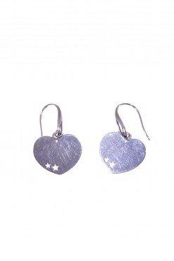 Orecchini cuore in argento, pompeiana Linea: Argento  Collezione: simboli -Orecchini con montatura a monachella e cuore pendente in Ag.925 rodiato
