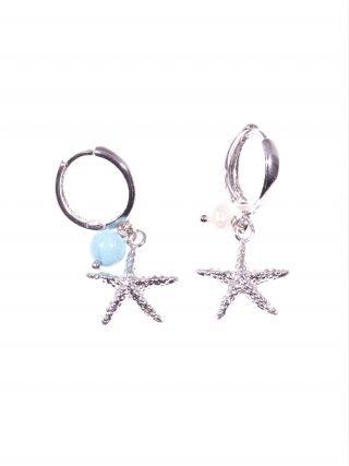 Orecchini argento, stella marina Linea: Argento Orecchini pendenti con cerchietto e stella marina in argento, charm con perlina e turchese. estate19 S/S-19