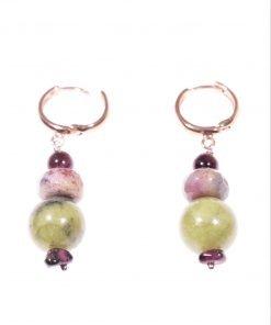 Orecchini argento rosa e giada Orecchini pendenti cerchietto argento rosa, giada canadese, agata indiana. fashion jewels, S/S-19